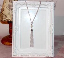 VINTAGE/Flapper/anni 1920 lunga collana con piatto d'argento con Perle Perle & Fiocco incrociato