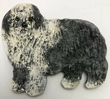 Old English Sheepdog Oes Dog Handpainted Wooden Pin Brooch Signed 1993