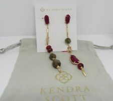 Kendra Scott Cosette Statement Earrings Gold Maroon Mix