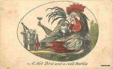 1912 Chicken Head Couple Man Woman Romance Wine Celebration Hand Colored
