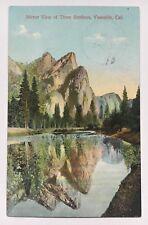 CA Postcard Yosemite California Mirror View of Three Brothers 3 M. Rieder scenic