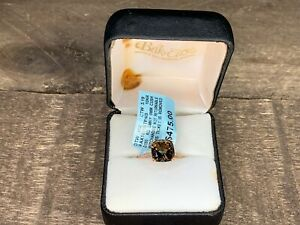 Women's 3.19Ct Smoky Quartz Cushion Cut w/ .052CT Diamond 10k Rose Gold Ring NEW