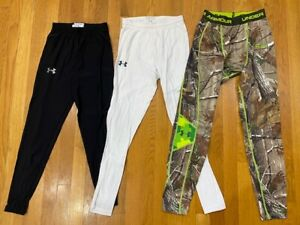 Under Armour Compression Fit Heat Cold Gear Pants Lot white Mens MEDIUM