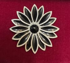 VINTAGE JEWELRY BROOCH PIN FLOWER ENAMEL BLACK WHITE