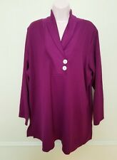 Roamans 22/24 1X  Purple V Neck Knit Shirt Top Cotton Polyester NEW