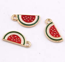P1177 10pc Charms watermelon Pendant Beads Necklace Jewellery Making Enamel