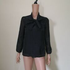 C173 - NB Black Sheer Checkered Long Sleeves Blouse with Bow Accent