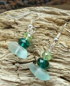 Unique Hand Made Seaham Sea Glass Earrings - Frosted glass and green beads