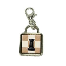 Black Rook Chess Set Dangling Bracelet Pendant Square Charm