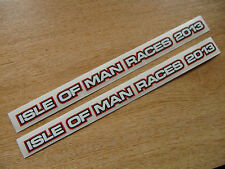 2 x isle of man races 2013 stickers - 200x10mm - visor decals - RED/BLACK