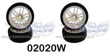 02020 RUOTE COMPLETE CERCHI BIANCH 1:10 WHITE Rim Tire 4pz ESAGONO INT.12 HIMOTO