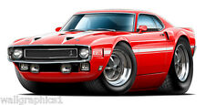 1969 1970 Ford Mustang Shelby GT350 Wall Graphic Vinyl Decal Sticker Man Cave