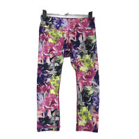 Reebok Yoga Capri Pants Sz S Small Athletic Leggings PINK All Over Floral Print