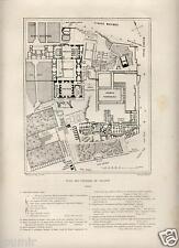 1875= ROMA = PIANTA DEL PALATINO = Rara Stampa Antica = Old Engraving