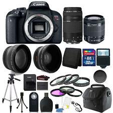 Canon EOS Rebel T7i DSLR + 18-55 STM + EF 75-300mm Lens + 32GB Accessory Bundle