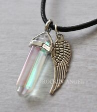Angel Aura Quartz Pendant Necklace with Angel Wing Reiki Healing Crystal Chakra