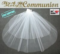 Girls 2T White Ivory First Holy Communion Baptism Cut Edge Veil with Diamanté