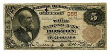 C8060- 1882 $5 NATIONAL BANKNOTE - BROWN BACK - BOSTON, MA - CH#359 - VERY GOOD
