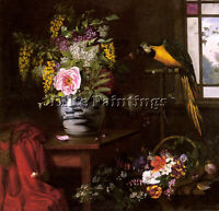 DENMARK HERMANSEN OLAF AOUT A STILL LIFE WITH VASE PANIER ET PARROT REPRODUCTION