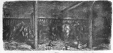 FERME FARM ECURIE AUX CHEVAUX HORSES GRAVURE IMAGE 1869