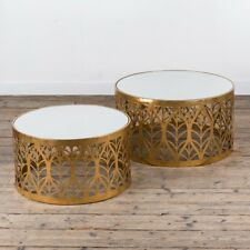 CONTEMPORARY GOLD GILT LEAF PATTERNED METAL NEST SIDE TABLE GLASS TOP (CMT051)