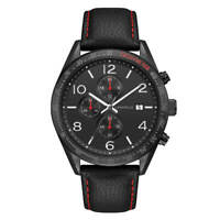 Caravelle Men's Watch Chronograph Black Leather Strap with Red Stitches 45B153