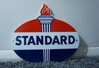 VINTAGE STANDARD PORCELAIN SIGN GAS METAL STATION PUMP PLATE OIL GASOLINE TORCH