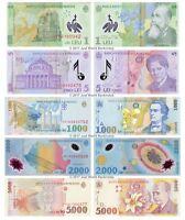 Romania 1 + 5 + 1000 + 2000 + 5000 Lei 1998-2014 Set of 5 Banknotes 5 PCS UNC
