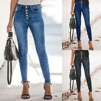 Women Hight Waisted Hole Button Denim Jeans Stretch Slim Pants Length Jeans