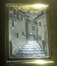 """Rare """"Sterling Silver"""" Moonlit Cityscape Framed Very Unusual And nice!"""