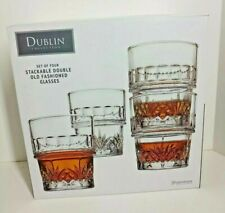 Crystal Whiskey Glasses Godinger Dublin STACKABLE Double Old Fashioned-4 pieces
