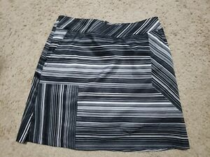 NWOT LADY HAGEN Black White Stripe Golf Tennis Skort Skirt Shorts 2