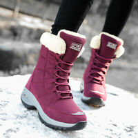 Women's Warm Faux Fur Lined Winter Snow Boots Outdoor Mid Calf Waterproof Black
