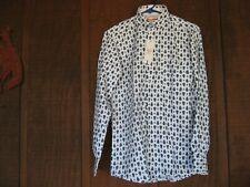 White and Blue New Slim Fit Medium Summer Original Cotton Top Shirt Long Sleeve