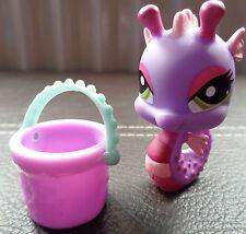 Littlest pet shop LPS # 1314 purple Seahorse with bucket accessory *