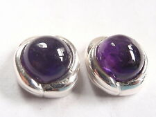Amethyst 925 Sterling Silver Stud Earrings Round with Grooved Perimeter