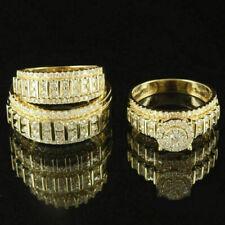 Engagement Bridal Wedding Band Trio Ring Set 3 Ct 18K Yellow Gold Over Diamond