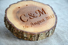 Personalized Wood Ring Holder, Rustic Oak Tree Ring Box, Ring Pillow