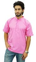 Atasi Men's Mandarin Collar Pink Cotton Short Kurta Casual Ethnic Shirt