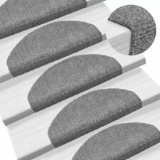 vidaXL 15x Self-adhesive Stair Mats Needle Punch 65x21x4cm Light Grey Rugs