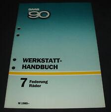 Werkstatthandbuch Saab 90 Federung / Räder / Stoßdämper / technische Daten 1985!