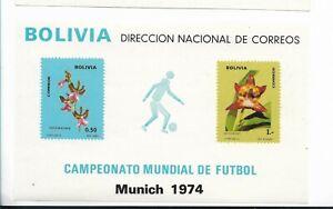 BOLIVIA 1974 WORLD SOCCER CUP MUNICH 1974 SPORTS ORCHIDS FLOWERS MI BL 39