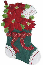 Felt Embroidery Kit - Plaid / Bucilla Christmas Poinsettia Stocking #86705