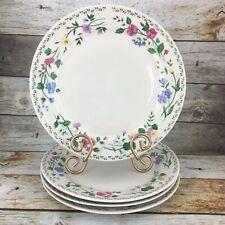 "4 Farberware Stoneware ENGLISH GARDEN #4241 Cream Floral Rim 10.5"" Dinner Plate"
