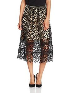 Black Lace Midi Skirt Calf Length Evening Party Nude Lining size 12 Harlow Cord
