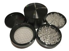 "SharpStone® 3.0"" Inch 4pc Hard Top Herb Tobacco X-Large Black Grinder + Extras!"