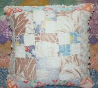 Throw Pillow Made With Vintage Farmhouse Nine Patch Plaid Feedsack Quilt #5