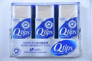 Q-tips  3 Packs of 625 Count Q-tips Total 1875 Q-tips Cotton Swabs