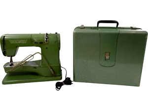 Vtg  ELNA TAVARO S.A. GENEVE Green SUPERMATIC SEWING MACHINE w/Case-722010 Work