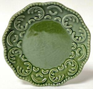"Vintage California Pottery Classic Ceramics Green 6"" Embossed Dessert Plate"